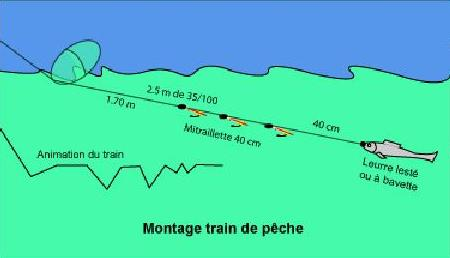 Illustration montage train de pêche